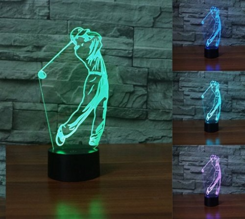 Golf Lamp - 3D Golf Player lamp Night Light Touch Table Desk Optical Illusion Lamps 7 Color Changing Lights Home Decoration Xmas Birthday Gift