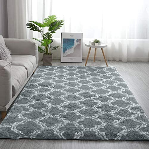 Minimalist Modern Indoor Shag Area Rug,Wool Non Slip Living Room Carpets Trellis Rugs,for Bedroom Home Decor Dining Room
