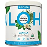 ALOHA Organic Plant Based Protein Powder, Stevia Free, Vanilla, 19.6 oz, 15 Servings PACKAGING MAY VARY
