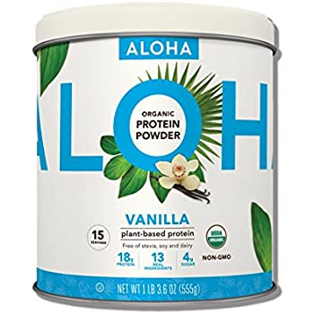 ALOHA Organic Plant-Based Protein Powder, Vanilla, 1 Pound 3.6 Ounce, 15 Servings