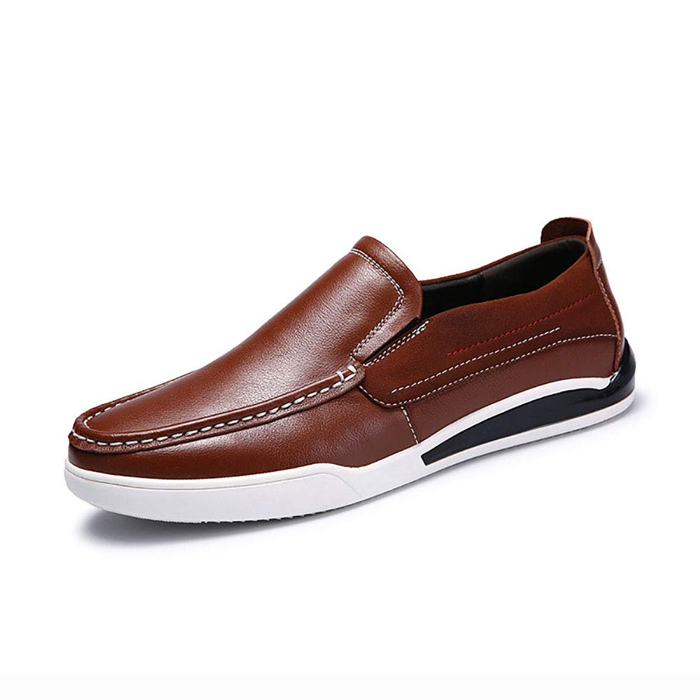 Brown Men's shoes Leather Spring Fall Comfort Loafers & Slip-ONS Driving shoes for Casual Deck shoes Large Size