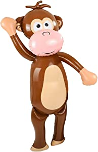 ArtCreativity 54 Inch Monkey Inflate, 1 PC, Cute Zoo Party Decorations, Fun Party Inflates for Animal-Themed Parties, Nursery and Playroom Décor Idea, Inflatable Monkey Toys for Kids, Brown