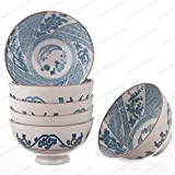 M.V. Trading NS2007 Japanese Blue and White Rice Bowls Design, 8-Ounces, 4½-Inches, Set of 6