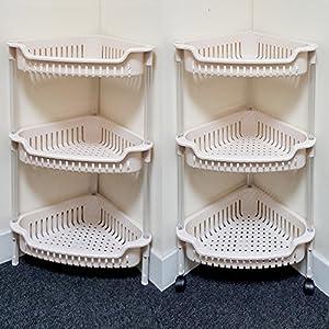Great Lado 3 Tier Corner Plastic Bathroom U0026 Kitchen Rack Vegetable Trolley  Organizer (SIL 132) By Lado