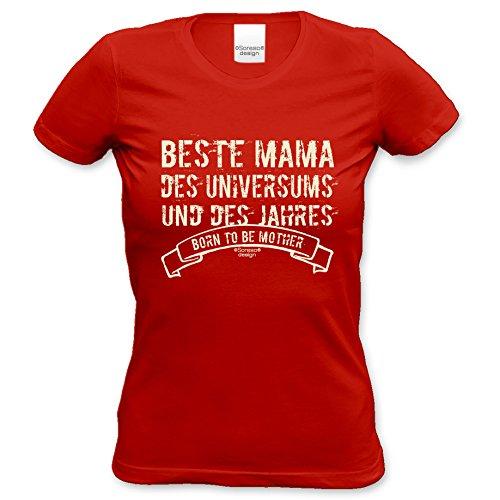 Damen-Girlie-Fun-T-shirt Top Geschenk GRATIS Urkunde - Beste Mama des Universums Farbe: rot Gr: L