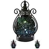 V&M VALERY MADELYN Decorative Candle Lanterns,Mercury Glass Sphere Light,LED Tabletop Lamps,Battery Operated Hanging Lantern for Indoors and Outdoor Decoration 6'' Diameter(Aqua Blue)