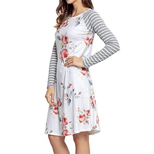 Liyizo Robe T-shirt, Les Femmes De La Mode Bande À Manches Longues Robes Florales Mini Tshirt Swing Robe Décontractée Pour Les Femmes Blanches