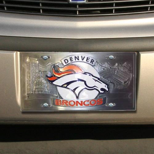 NFL Enterprises Denver Broncos Heavy-Duty Color Pewter License Plate