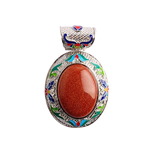 Antique Silver Plated Alloy Natural Stone Gold Sand Stone Beads Lapis Shell Pendant for Women Jewelry Making (Gold - Pearl Pearl Antique Sandstone