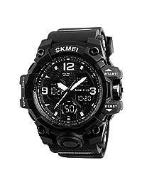 SKMEI Reloj para Hombre, Digital y Análogo, Deportivo y Militar, Retroiluminación, Resistente al Agua, con Cronómetro, Alarma y Fecha, Modelo 1155B. Negro