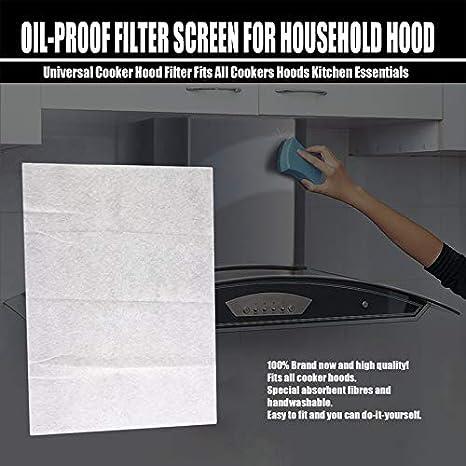 Cocina limpia Cocina no tejida Campana Filtro de grasa Suministros de cocina Filtro de contaminación Filtro de malla Cocina Campana Papel Filtro de aceite -Blanco: Amazon.es: Grandes electrodomésticos