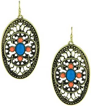 Brass Filigree Drop Earrings with Imitation Turquoise and Coral Accents