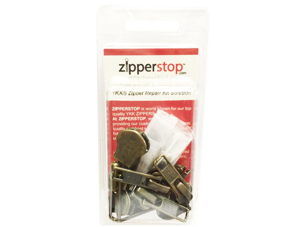 ZipperStop Wholesale YKK® - Zipper Repair Kit Solution 8 sets of YKK® Auto Lock Sliders Assorted 4 of #5, 2 of #7 and 2 of #10 Included Top & Bottom Stops Made in USA (YKK Antique Auto Lock Sliders) 4337007158