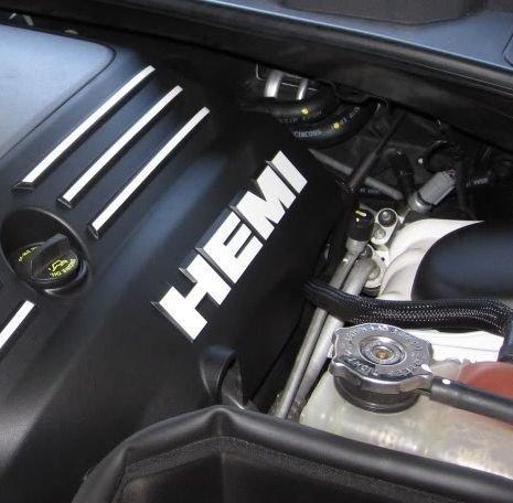 Engine Cover HEMI Lettering Overlay Decals (set of 2) - Challenger 5.7 Liter - (Color: -