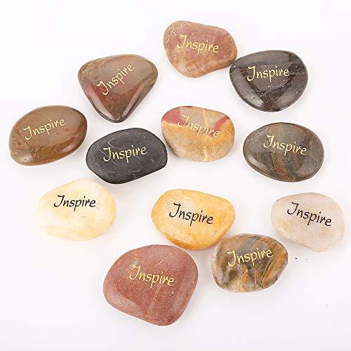 12PCS RockImpact Inspire Stones Engraved Inspirational Stones Pocket Stone Fruit of The Spirit Stones Inspiring Christian Word Stone Reiki Healing Balancing Palm Stones Bulk Set of 12, Inspire Rocks -