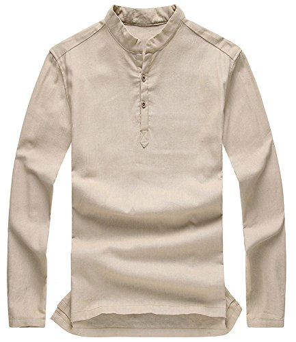 Flax Color (Plaid&Plain Men's Banded Collar Long Sleeve Solid Color Flax Shirt Khaki M)