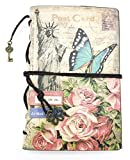 iToolai Women's PU Leather Blank A6 Refillable Travel Writing Journals, Vintage Unlined Sketch Book, Rope Lock Dairy Soft Cover Binder (Butterfly)