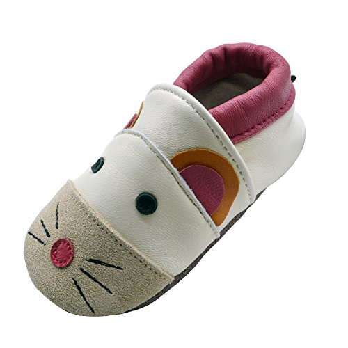 iEvolve Baby Leather Shoes Soft First Walker Shoes Crib Shoes Moccasins for Toddlers(Beige Mouse, 12-18 Months) (Soft Boys Leather)