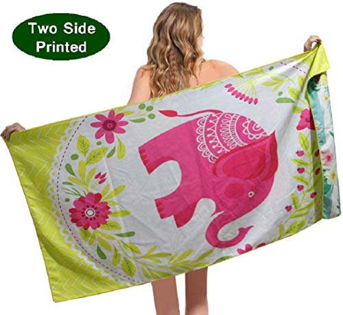 ponyprincess Beach Towel Mircrofiber Sand Free Pool Beach Towels-Super Absorbent Thin Lighweigh Novelty Beach Towel for Kids Girls Women Men Adults Elephant Pineapple (Beach Elephant)