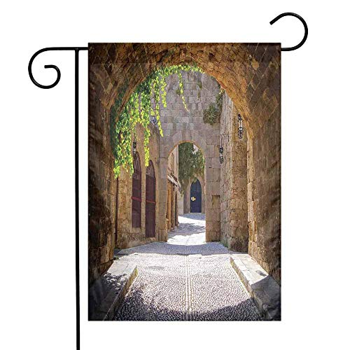 Mannwarehouse Tuscan Garden Flag Ancient Italian Street in a Small Provincial Town of Tuscan Italy European Premium Material W12 x L18 Brown Green Grey