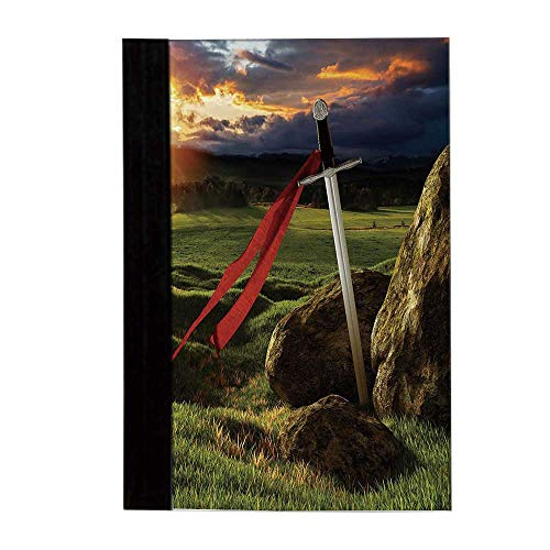 King Unisex Notebook,Arthur Camelot Legend Myth in England Ireland Fields Invincible Sword Image Diary,8