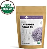 Lavender Flowers Organic by Kate Naturals. Premium Grade. Dried. Perfect For Tea, Lemonade, Sachets, Baking, Baths. Fresh fragrance. Large Resealable Bag. Gluten-Free and Non-GMO. 1-Year Guarantee 4oz