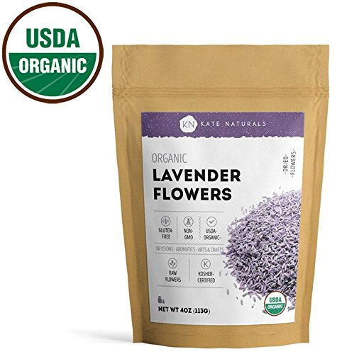 Kate Naturals Organic Lavender Flowers Premium Grade. Dried. Perfect For Tea, Lemonade, Sachets, Baking, Baths. Fresh fragrance. Large Resealable Bag. Gluten-Free and Non-GMO. 1-Year Guarantee 4oz