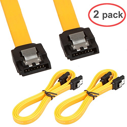LINESO 2Pack 32in Long SATA Cable 6gb Straight with Locking Latch(Yellow)