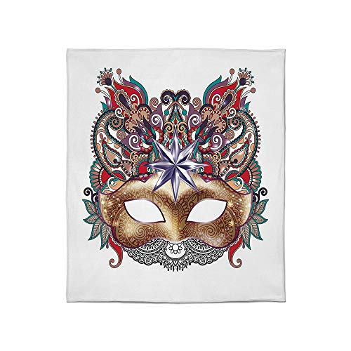 YOLIYANA Super Soft Blanket,Mardi Gras,for Camping Bed Couch,Size Throw/Twin/Queen/King,Venetian Carnival Mask Silhouette with Ornamental Elements