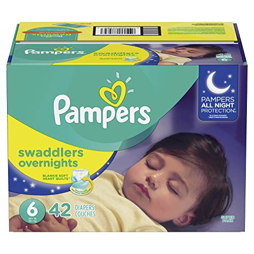 Pampers Swaddlers  Overnights Disposable Baby Diapers Size 6, 42 Count, SUPER from Pampers