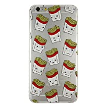 French Fries Popcorn Black Cat Banana Donuts Printing Googly Moving Eyes Soft TPU Rubber Gel Case for Apple iPhone 5/5S(French Fries)