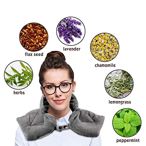 Microwavable Heating pad, Hot/Cold Shoulder Wrap Aromatherapy Soft Flannel & Button Design, Natural Herbal Filler, Dry/Moist Relieve Aches and Tension in The Neck, Back and Arthritis
