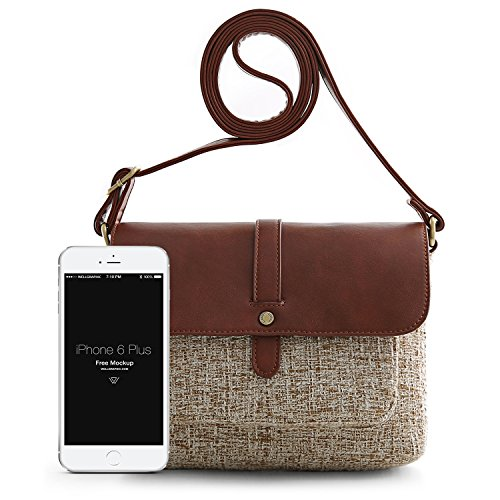 Leather Canvas Style and ECOSUSI Coffee Body Bag Canvas PU Women Mixing Color Cross a5xaPIA