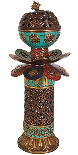 Exotic-India-ZCE64-Tibetan-Buddhist-Incense-Burner-with-Ashtamangala-Symbols