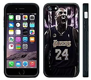 Apple iPhone 6 Black Rubber Silicone Case - Kobe Bryant 24 Lakers Kobe Yelling by runtopwell
