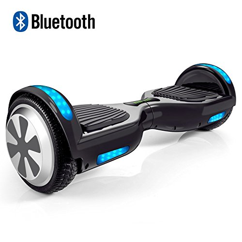 VEEKO Hoverboard Two-wheel Self-balancing Scooter with Bluetooth Speaker - 9.6Km/hr Max 225lbs Max / UL2272 Certified Hover Board / 250W Dual Motor /6.5'' Aluminum Alloy Wheels / Black