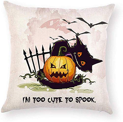 Fhdang Decor Lovely Fashion Funny Halloween Pillowcase Quotes I AM to Cute to SPOOK Pumpkin Cat Bat Printed Pillow Case Cushion Cover Decorative Protector Square 18 x 18 inch for Living Room -