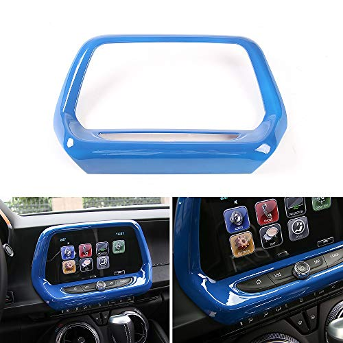 - Car Interior GPS Navigation Center Control Panel Cover Trim for Chevrolet Camaro 2017 2018 (Blue)