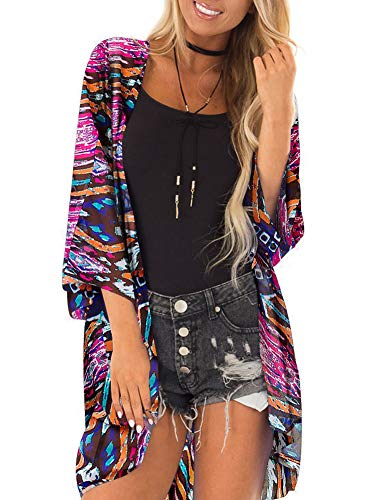 Women 3/4 Sleeve Floral Kimono Cover Up Sheer Chiffon Blouse Loose Long Cardigan Multicolor X-Large