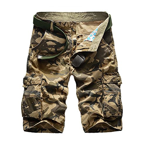 CRYSULLY Men's Casual Cotton Outdoor Wear Relaxed Fit Multi Pocket Ripstop Cargo Shorts(Khaki,34)