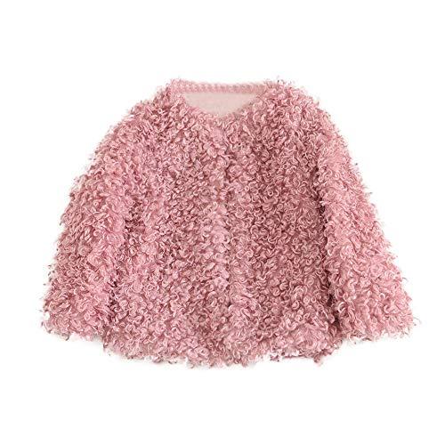 (Dolwins Toddler Baby Girls Warm Fleece Coat Fur Hoodie Winter Cotton Jacket Clothes(Hot Pink-3)