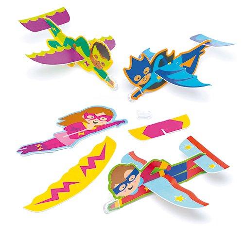 Baker Ross Lot de 8 Planeurs Super Héros Étoilé à assembler - Idéal comme cadeau de pochette surprise