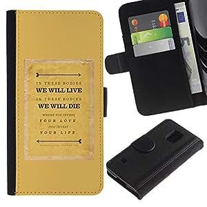 Paccase / Billetera de Cuero Caso del tirón Titular de la tarjeta Carcasa Funda para - Text Quote Motivational Mustard - Samsung Galaxy S5 V SM-G900