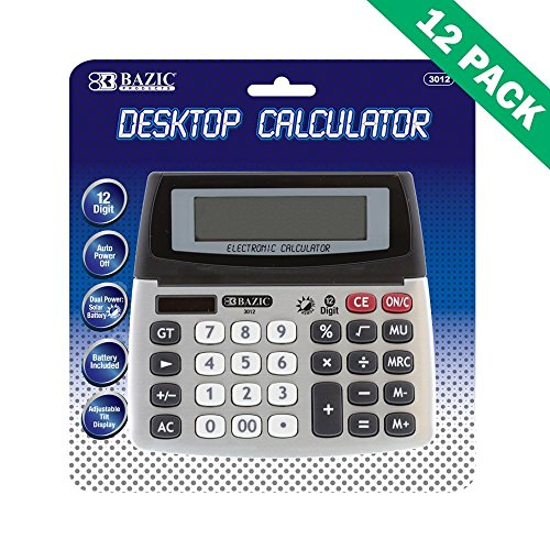 Desk Calculator, 12-digit Desktop Calculators For College (case Of 12 Units) by BAZIC-PRODUCTS