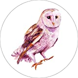 Owl Home Wall Shelf Decor Animal Decorations Watercolor Round Sign - 12 Inch, Metal