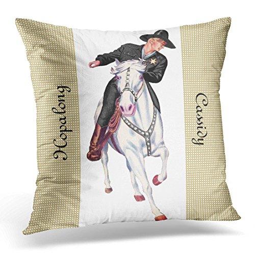 Emvency Throw Pillow Cover Western Hopalong Cassidy Cowboy Topper White Horse Decorative Pillow Case Home Decor Square 20 x 20 Inch Pillowcase ()