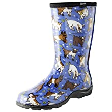 Sloggers Women's Waterproof Rain and Garden Boot with Comfort Insole, Goats Sky Blue, Size 6, Style 5018GOBL06