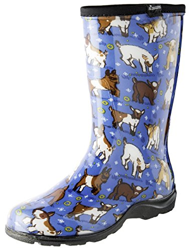 Sloggers Women's Waterproof Rain and Garden Boot with Comfort Insole, Goats Sky Blue, Size 7, Style 5018GOBL07