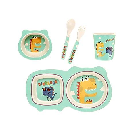 Amazon.com: Cartoon Animals - Juego de platos de bambú y ...
