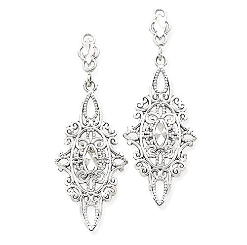 14k Multi Stone Dangle (ICE CARATS 14k White Gold Filigree Drop Dangle Chandelier Post Stud Earrings Fine Jewelry Gift Valentine Day Set For Women Heart)